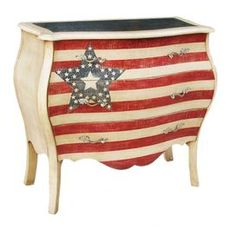 """Three-drawer accent chest.     Product: Accent chest        Construction Material: Wood Color: Red, white and blue    Features:  Three drawersHand-painted   Dimensions: 34"""" H x 37"""" W x 17"""" D                  Note: Assembly required, hardware included"""