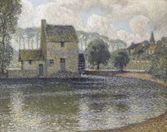 The Grey Mill, Montreuil-Bellay, Henri Eugène Augustin le Sidaner Modern Art, Contemporary Art, Icelandic Artists, Post Impressionism, Le Moulin, French Artists, Windmill, Landscape Paintings, Modern Paintings