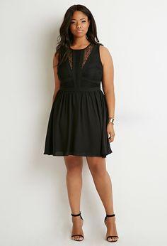 Plus Size Lace-Paneled Fit & Flare Dress
