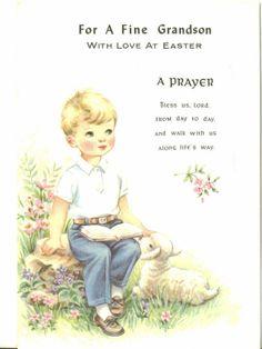 Vintage Easter Card UNUSED Fine Grandson Boy by TheVintageGreeting, $4.95