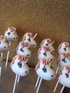 12 Unicorn Birthday Baby Shower Party Cake Pops Horse Sweets Table Candy Buffet