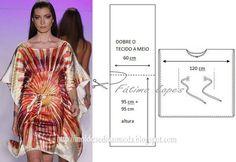 PASSO A PASSO MOLDE DE TÚNICA Corte um retângulo de tecido com a altura de 190 cm e largura de 120 cm e dobre ao meio o retângulo que obteve. Desenhe o dec