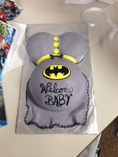 Batman baby bump baby shower cake