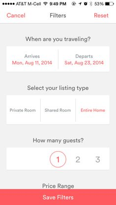 Air BnB filters show forms without the need of the usual input fields & dropdowns