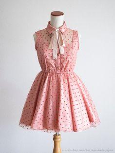 LIZ LISA Soft Tulle Flare Ribbon Pink OP Dress Hime Sweet Lolita Kawaii Japan #LIZLISA #PeplumTunic #Shibuya109Lolitafashion