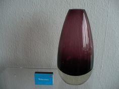 Riihimaen Lasi Oy Finland gr. bauchige Vase signiert  lila violett überfangen