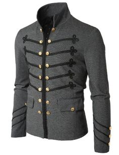#Mens fashion Doublju Mens Jacket with Button Detail Gray