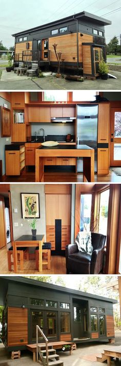 Can I move in tomorrow? Just lovin this model! A 450 sq ft tiny house named the Waterhaus. One of the most beautiful tiny house interiors I've seen Tyni House, Tiny House Living, Modern Tiny House, Tiny House Movement, Tiny House Plans, Tiny House On Wheels, Tiny House Trailer, Tiny House Nation, House Names