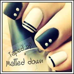 Nail Art - Polish pattern combination & design. DIY beauty trends. Perfect colors to combine with black are either white, pale pink or opaque almond/nude tone.