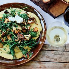 ... and greens and the tangy mascarpone that melts into the creamy polenta