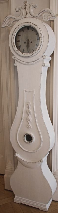 vine leaf carve top original antique swedish white 1800s antique mora clock from swedish interior design