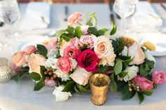 rose and dahlia centerpiece in shades of pink and white by The Little Branch