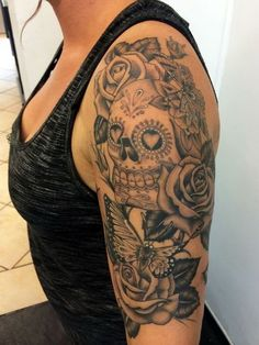 Sugar Skull Candy Tattoo for Women. www. http://forcreativejuice.com/cool-sleeve-tattoo-designs/