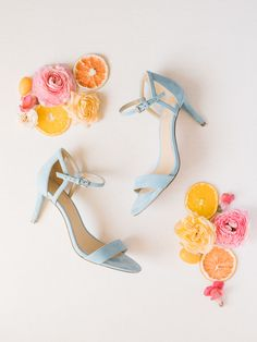 Bride's french blue velvet heels from Michael Kors styled with dried fruits, and fresh pink flowers. Fairmont Grand del Mar wedding published on Martha Stewart Weddings Orange Wedding, Floral Wedding, Wedding Colors, Summer Wedding, Colorful Wedding Invitations, Fruit Wedding, Martha Stewart Weddings, Strawberry Mint Water, Blue Velvet Heels
