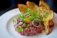 Steak Tartare from Wayfare Tavern! Just in case anyone cares, this is what I would want as a last meal. Cajun Recipes, Mexican Food Recipes, Italian Recipes, New Recipes, Favorite Recipes, Ethnic Recipes, Best Dishes, Main Dishes, Wayfare Tavern