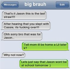 Reminds me of my 2 big brothers Funny Text Messages Fails, Funny Texts Jokes, Text Jokes, Stupid Funny Memes, Funny Relatable Memes, Haha Funny, Hilarious, Very Funny Texts, Cute Texts