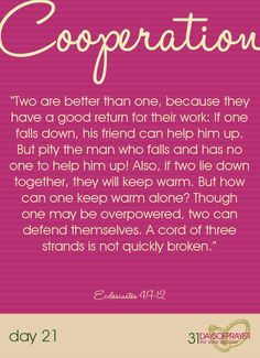 31 Days of Prayer for your Spouse {Day 21 :: Cooperation}