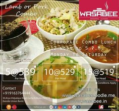 Plan a lunch party for your family and friends this weekend wasabee invites you to its special corporate combo lunch offer 12noon to 5 pm monday to stopboris Image collections