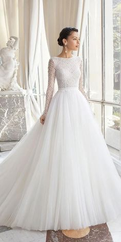 24 Modest Wedding Dresses Of Your Dream ? modest wedding dresses ball gown with long sleeves lace top rosa clara : 24 Modest Wedding Dresses Of Your Dream ? modest wedding dresses ball gown with long sleeves lace top rosa clara Fantasy Wedding Dresses, Princess Style Wedding Dresses, Fairy Wedding Dress, Maxi Dress Wedding, Wedding Dress Trends, Modest Wedding Dresses, Wedding Dress Styles, Designer Wedding Dresses, Bridal Dresses