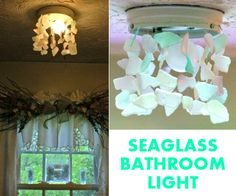 Idea for a simple seaglass chandelier ceiling light.