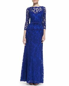 3/4-Sleeve Lace Gown with Bow Belt, Marina Blue by Tadashi Shoji at Neiman Marcus.