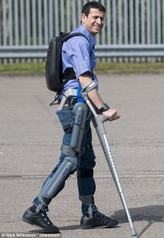A former British soldier, James Johnson, who was paralysed in Afghanistan is learning how to walk again with the help of an exoskeleton. James is the first paraplegic person to be part of the Salford University pilot scheme to teach people how to walk using robotics. The ReWalk system being used by Mr Johnson costs  $66,541, but the company hopes insurance firms will help others with similar disabilities meet the cost of learning to walk again.  #technews #socialmedia #socialmediamarketing…
