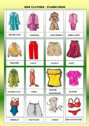 English worksheet: HER CLOTHES - FLASHCARDS - FOR BEGINNERS - B&W