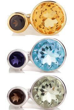 Sterling Silver Gemstone Rings by British Jeweller MANJA.  Songofjewellery.com - free shipping.