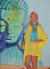 Beach cover-up or top over jeans or capris. Light rayon hand dyed and hand printed.  Flattering and comfortable on everyone!  Hand dyed in lemon. $60