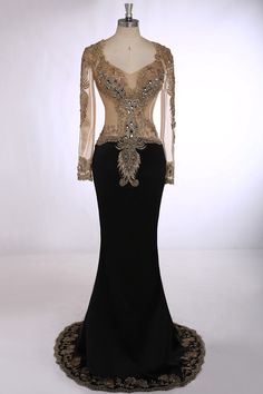 Formal Evening Gown Sheath V-Neck Long sleeved Satin with Embroidery Crystal Beading Prom Dresses