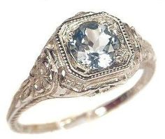 Antique Style Sterling Silver Filigree .65ct Sky Blue Topaz Ring (sz 7)