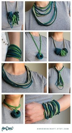 Amazing Comment faire des colliers avec du tissu How to make necklaces with fabric Scarf Necklace, Fabric Necklace, Diy Necklace, Crochet Necklace, Textile Jewelry, Fabric Jewelry, Jewellery, Tshirt Garn, Jewelry Crafts