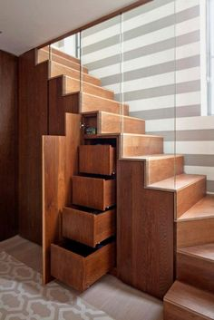Furniture, Wood Stairs With Drawers Glass And Stripe Wall: Under Stairs Storage Design Ideas that Make Your House Keep Simple Staircase Storage, Staircase Design, Modern Staircase, Staircase Glass, Stair Design, Curved Staircase, Glass Railing, Under Staircase Ideas, Space Saving Staircase