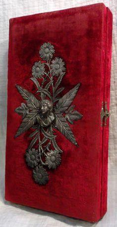 ANTIQUE 1800s Victorian Velvet & Silver Jewelry Box ~ Keepsake Trinket case.