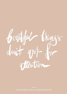 beautiful things don't ask for attention.