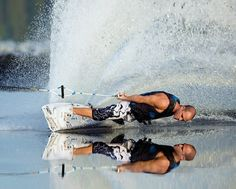 Waterskiing on glass