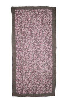 Leon - cashmere tørklæde - Leopard Pink