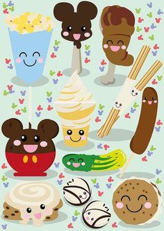 Disney inspired Kawaii Snacks Illustration by Philhowelldesign Disney Pixar, Disney Magic, Walt Disney World, Disney Snacks, Disney Food, Cute Disney, Disneyland Food, Disney Stuff, Original Disneyland