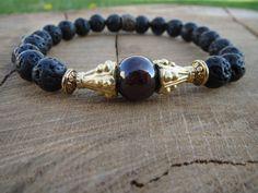 Mens Bracelet Men Bracelet Garnet Bracelet by Lava Bracelet, Garnet Bracelet, Bracelet Men, Bracelets For Men, Jewelry Bracelets, Leather Bracelets, Beaded Jewelry, Handmade Jewelry, Jewellery