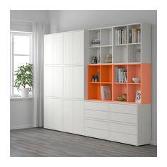 EKET Kastencombinatie met doppen IKEA Toon of verberg je bezittingen naar wens door open en dichte opbergers te combineren.