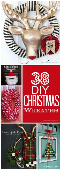 38 Awesome DIY Christmas Wreaths to make! Lots of great decor idea.
