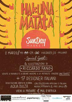@SudioArea22 (via giusti, 22 Milano) dalle 11 alle 11 SunDay Market // Hakuna Matata -- Se anche voi, come noi, avete una parte di cuore impressa dai colori della terra africana o se avete semplicemente voglia di respirare un po' di sole in attesa della primavera, non vi resta che passare a trovarci per una domenica senza pensieri. Hakuna Matata, appunto.