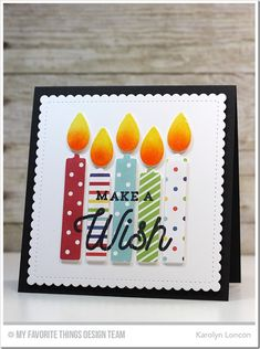 Make A Wish Card Kit: MFT, spotlight stamping, pp, candles, Karolyn Loncon birthday card Masculine Birthday Cards, Handmade Birthday Cards, Happy Birthday Cards, Greeting Cards Handmade, Birthday Greetings, Envelopes, Bday Cards, Card Kit, Copics