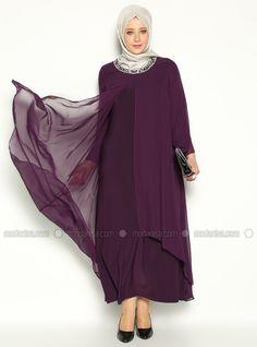 Pierre robe de soirée brodée - Violet foncé - Robe de Soirée Grande Taille - Modanisa