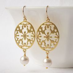 Gold Floral Pearl Dangle Earrings by PeriniDesigns on Etsy