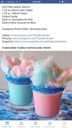 Debbie Pace's media content and analytics - Jell-O shots - Drinks Candy Alcohol Drinks, Cotton Candy Drinks, Alcohol Drink Recipes, Liquor Drinks, Cotton Candy Shots Recipe, Cotton Candy Cocktail, Fireball Recipes, Cake Vodka, Alcholic Drinks
