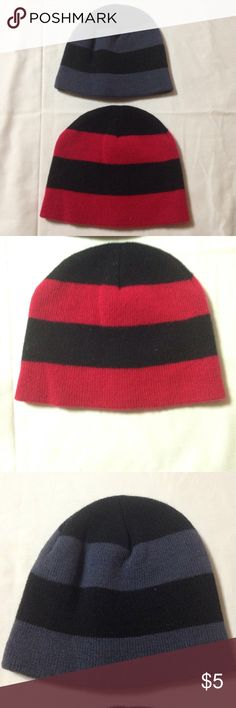 2 boys winter hats 2 boys hats. Age 3-4 for size. One red/black and one black/grey. Great condition! Accessories Hats