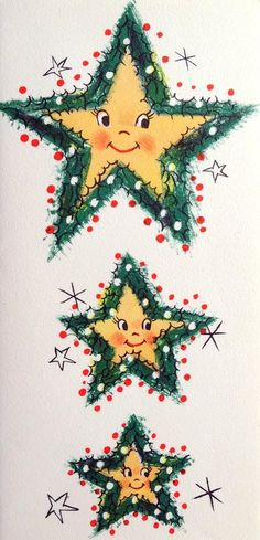 smiling vintage holiday stars