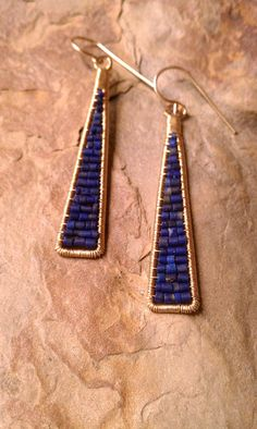 Cleo Earrings in Lapis & 14K Gold Fill por MistyEvansDesign en Etsy