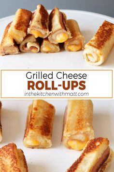 These grilled cheese roll ups are awesome and super easy to make. If you like grilled cheese sandwiches, you will love these. They are perfect for a game day party, or other social gathering, or even just for the kids! If I can do it, you can do it. Grill Cheese Roll Ups, Lunch Recipes, Bread Recipes, Baking Recipes, Dessert Recipes, Cheese Rolling, Yummy Healthy Snacks, Low Calorie Snacks, Group Boards